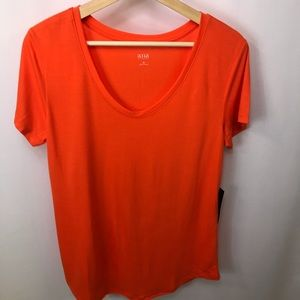 Orange Tee scoop neckline medium NWT a.n.a.